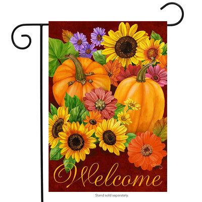 """Fall Glory Floral Garden Flag Pumpkins Sunflowers Autumn 12.5"""" x 18"""""""