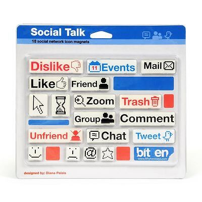 Gift House International 18 Social Network Icon and Emoticon Fridge Magnets ()