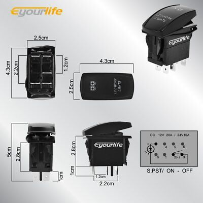 Rocker Switch On-Off LED Light SPST Switch For Auto Boat Car Marine 12//24V #HF0