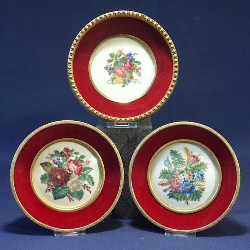 Petit Point Embroidery  3 Round Red Velvet Frames Convex Glass   Basket Flowers