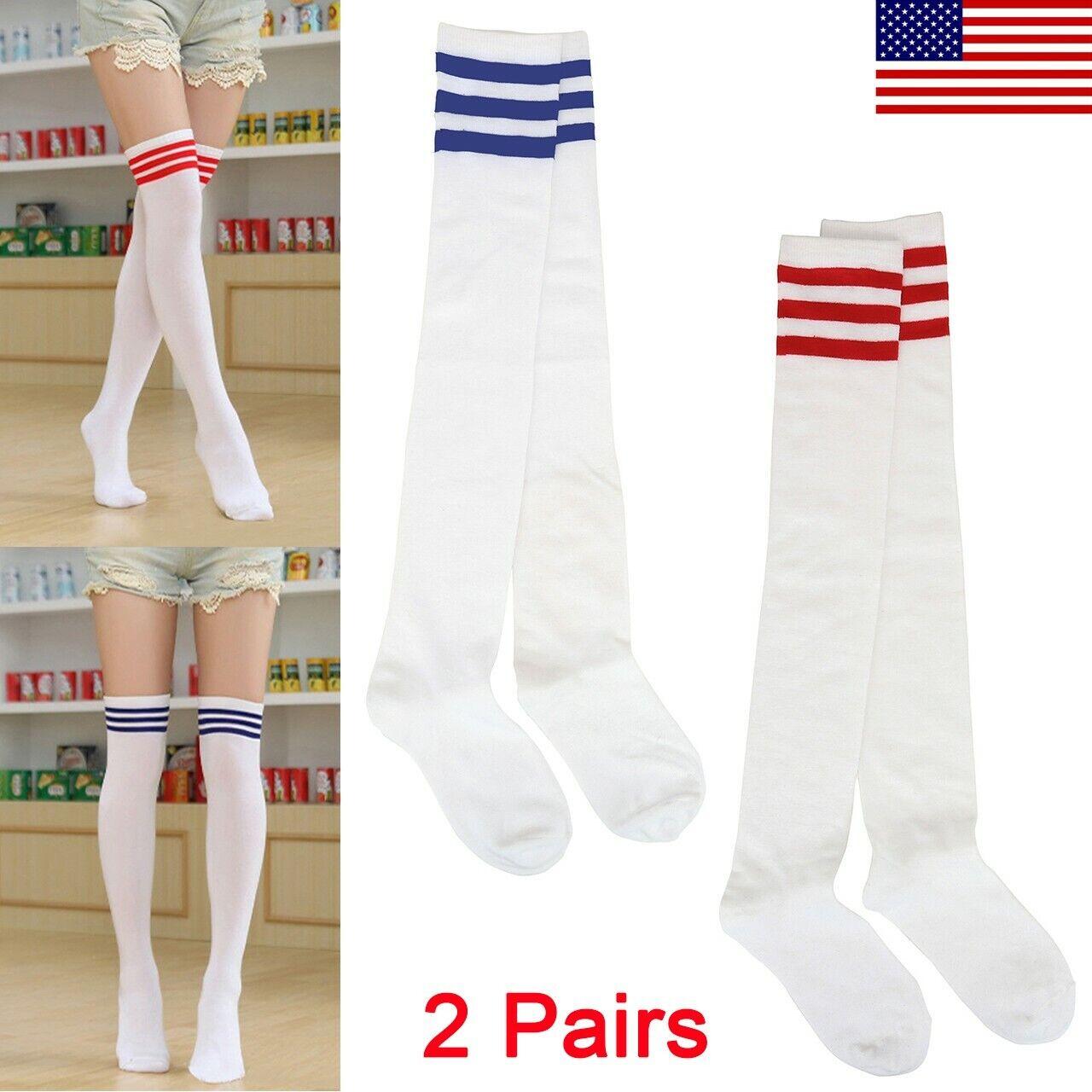 Women Men Sport Athletic Soccer Stripe Long Socks Over Knee
