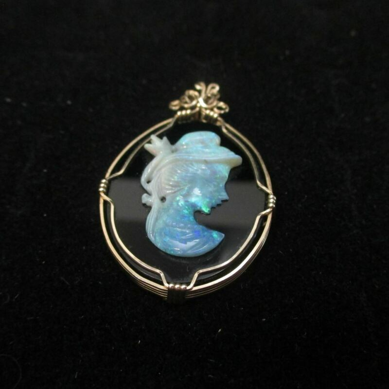 Rolled Gold Wire Created Opal Cameo Pendant