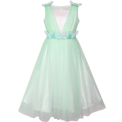 Flower Girl Dresses Teal (US STOCK! Flower Girls Dress Light Cyan Ruffle Butterfly Wedding Size 6-14)