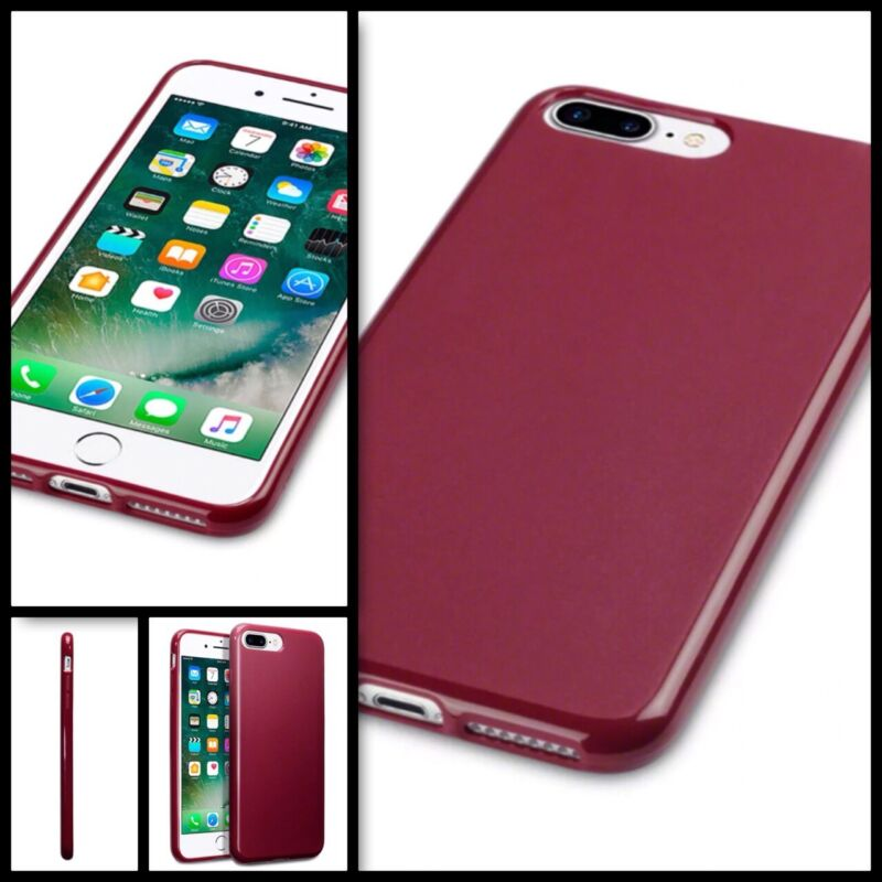 Apple+iPhone+8+Plus+Case+Flex+Gel+Bumper+Red+%26+Screen+Protector+FREE+SHIPPING