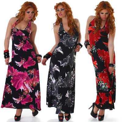 Neckholder Maxikleid lang bunt Einheits-Größe 34 36 38 top Mode Tanz Party Kleid Neckholder-maxi-kleid