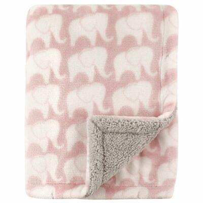 Hudson Baby Girl Blanket with Sherpa Back, Elephants