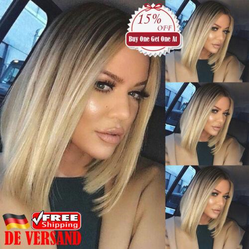 DE Damen Mode Bob Blond Gold Ombre  Perücke Bob Kurz Haare Glattes Wig Cosplay