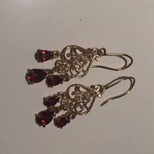 Garnet and Gold Dangle Earrings Brighton-le-sands Rockdale Area Preview