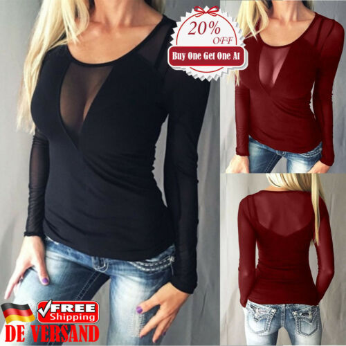 Damen Langarm T-shirt Mesh Raglanärmel Oberteil Sexy Blusen Perspektive Tunika