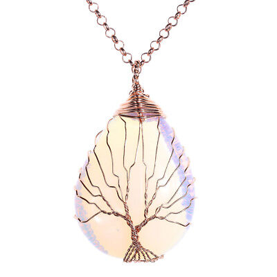 Opalite Gemstone Copper Wire Wrapped Teardrop Pendant Necklace Mother's Day -