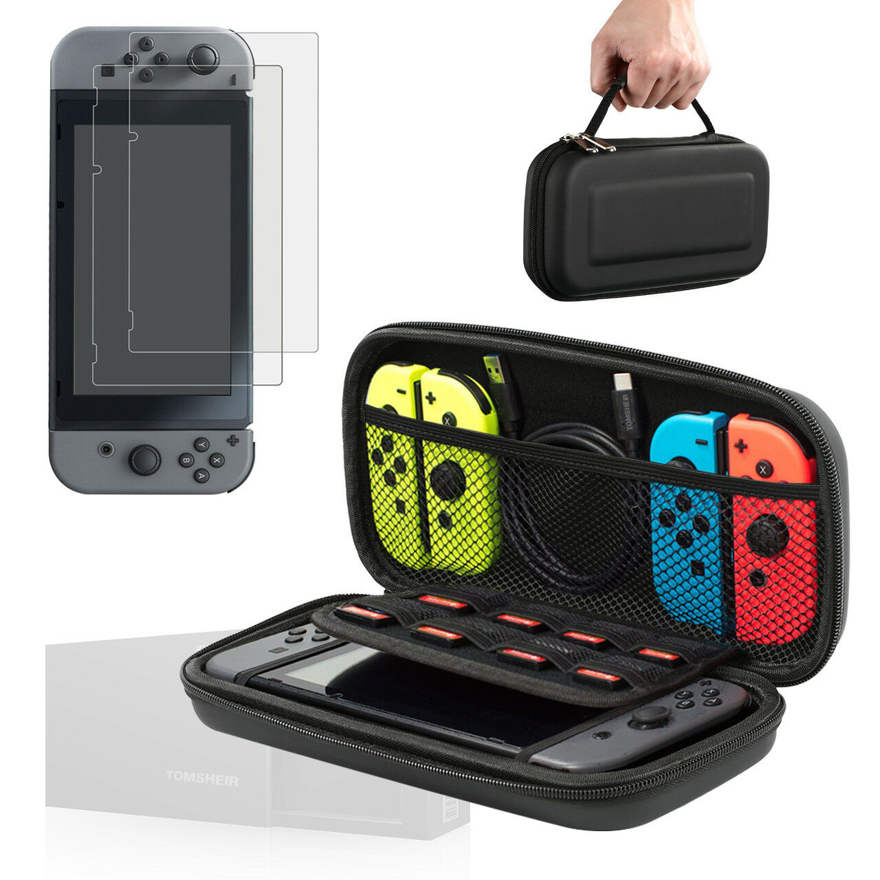 Nintendo Switch Case and Tempered Glass Screen Protector for