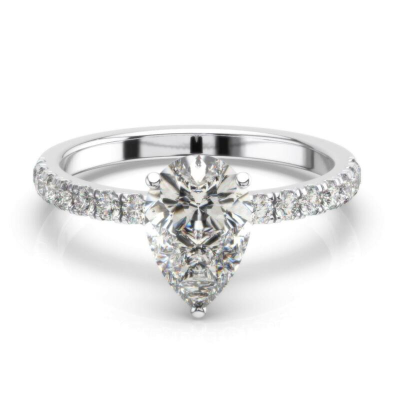 Real Diamond Engagement Ring Hidden Halo F/si1 1.50 Ct Pear 14k White Gold