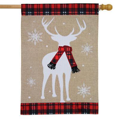 "Winter Deer Burlap House Flag Plaid Scarf 28"" x 40"" Briarwoo"