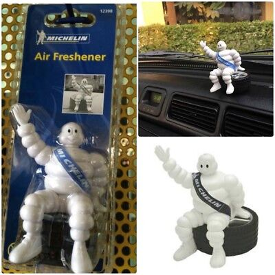 "MICHELIN Man Doll Collectible BIBENDUM Figure Sit on Tyre 4""  Air Freshener Car"