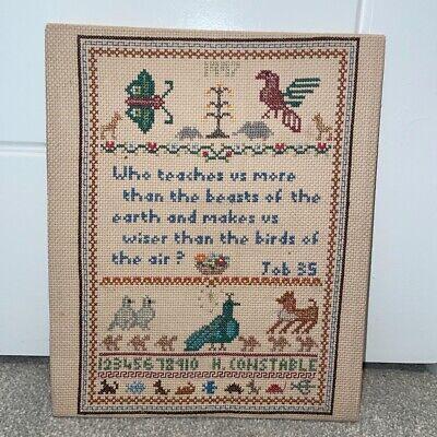 Vintage Sampler, Bible Verse, Animals, Cross Stitch, job 35