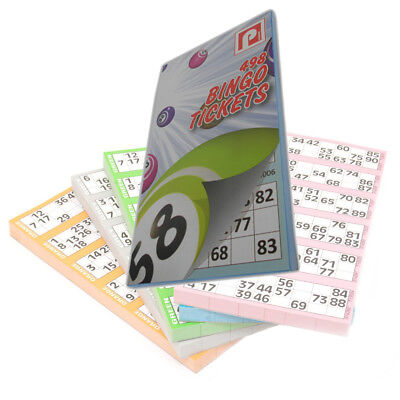 498 BINGO TICKETS PAD - BOLD NUMBERS - 6 TICKETS PER PAGE VARIOUS COLOUR BOOKS