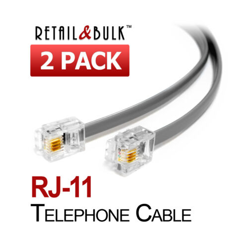 ( 2 Pack ) Short Telephone Cable RJ11 Phone Line Cord.  5, 6, 8, 12, 18, 24 inch
