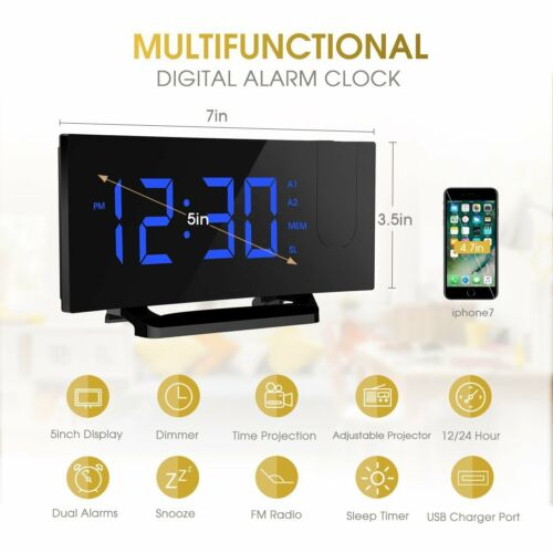 MPOW Large Projection Digital LCD Snooze Alarm Clock Color Display LED Backlight