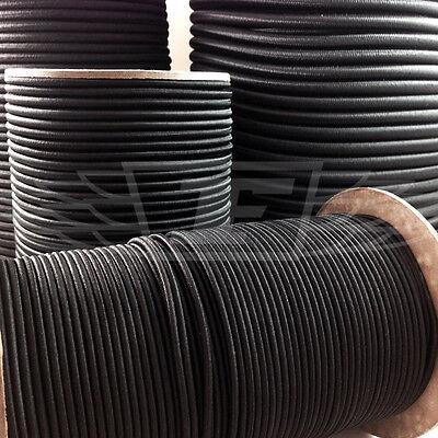 BLACK ELASTIC BUNGEE ROPE SHOCK CORD TIE DOWN 3mm 4mm 5mm 6mm 8mm 10mm 12mm