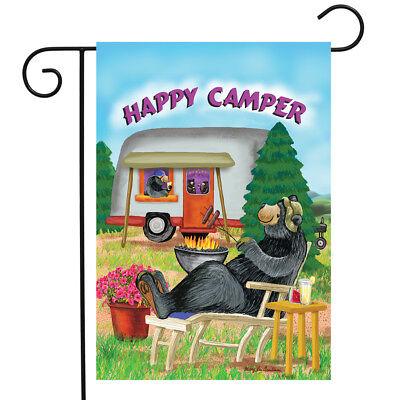 "Happy Camper Summer Garden Flag Camping Bear Fire 12.5"" x 18"