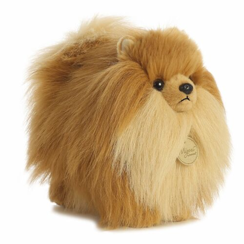 New AURORA MIYONI Soft Stuffed Plush Toy POMERANIAN POMPOM POMIE Puppy Dog Brown
