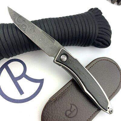 Chris Reeve Knives Mnandi Bog Oak Inlay Drop Point/ Raindrop Damascus Blade