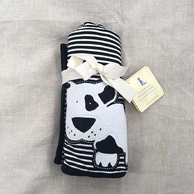 POTTERY BARN KIDS cat dog cotton knit Stroller Blanket black White 30 x 40 crib