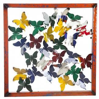 ee-i-ee-i-o Metal Butterfly Framed Wall Outdoor Garden Sculpture