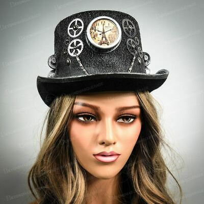 Cosplay Steampunk Costume Top Hat Silver Burning Man Accessories Victorian Style