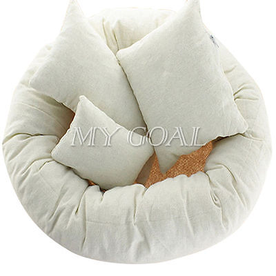 4X Newborn Baby Photography Basket Pillow Filler Wheat Donut Posing Props Set