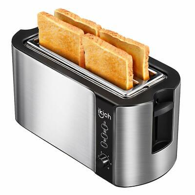 IKICH 4 Slice Long Slot Toaster Best Rated Stainless Steel Bread Toasters