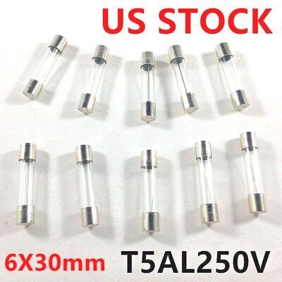 10pcs 5a 250v Slow-blow Fuse Glass T5al250v 5 Amp Time-delay Fuse 6x30mm