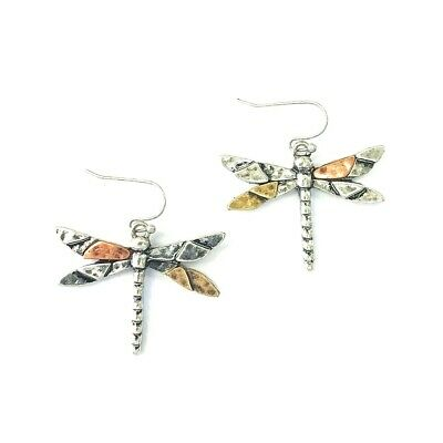 Antique Silver Finished Insect Dragonfly Design Shape Drop Dangle Hook Earrings Dragonfly Hook Dangle Earrings