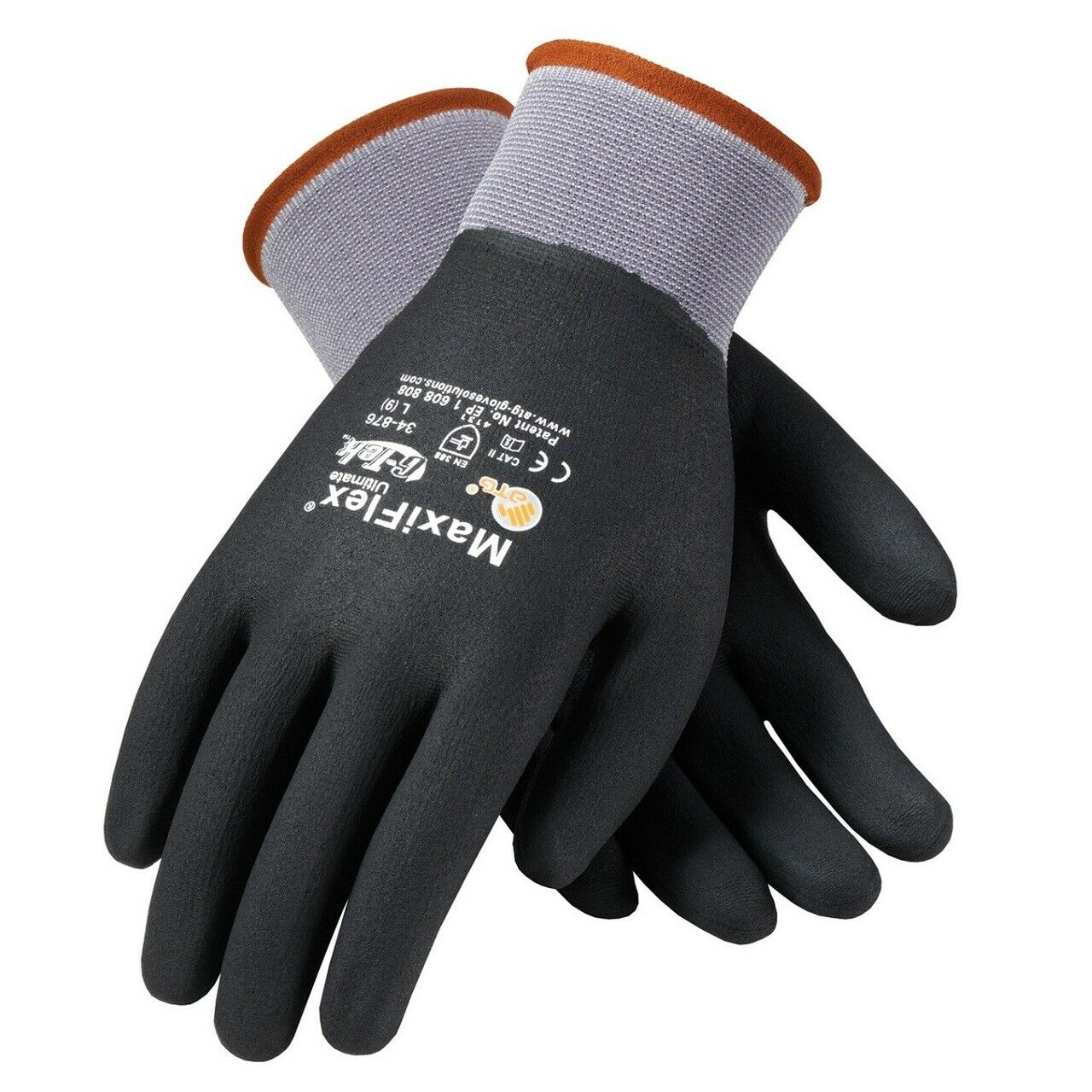 MaxiFlex 34-876 Mens Knit Nylon/Lycra Glove Nitrile Coated MicroFoam Size SM-XXL Business & Industrial