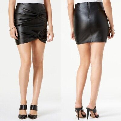 NWT GUESS Knotted Faux Leather Rocker Chic A-Line Black Mini Skirt 0