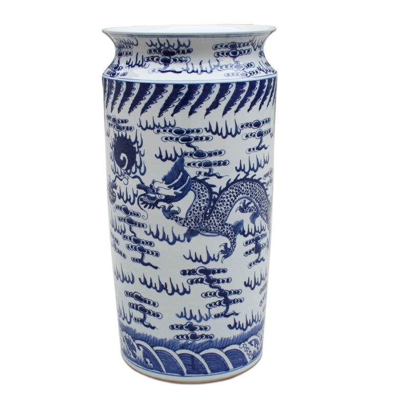 """Beautiful Blue and White Porcelain Umbrella Stand Dragon and Fireball Motif 23"""""""