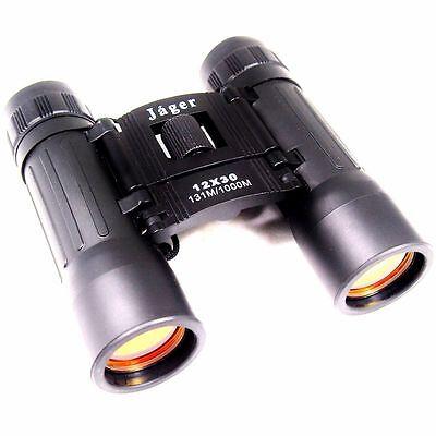 Jäger Fernglas 12x30 zusammenklappbar klappbar Feldstecher schwarz binoculars .