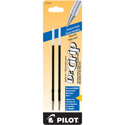 Dr. Grip Retractable Ball Point Pen Ink Refills Medium Point Blue Ink 2 Pack