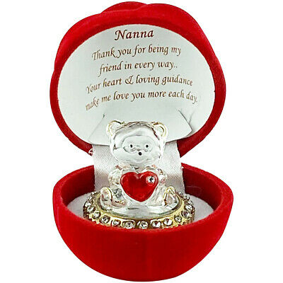 Mother's Day Gift Ideas Presents Gift For Nana Red Flower Crystal Taddy Bear ()