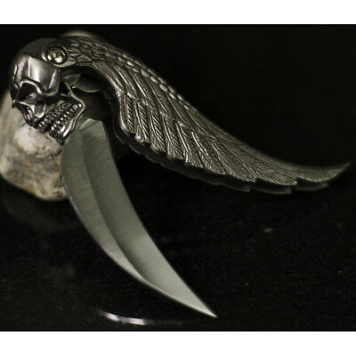 "7"" SILVER BLADE SKULL WING DESIGN TACTICAL FOLDING POCKET KNIFE"