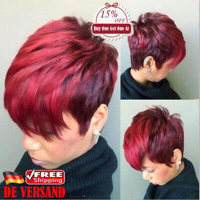 DE Damen Schräg Gelockt Haarteile Perücke Lockiges Wein Rot Wig Kurzhaarperücke
