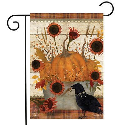 "Primitive Pumpkins Autumn Garden Flag Sunflowers Fall 12.5"" x 18"" Briarwood Lane"