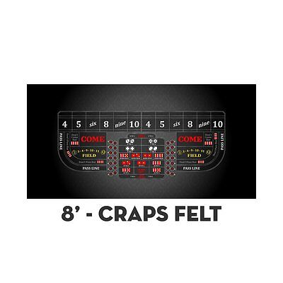 1 Professional Craps Black Digital 8' Table Layout Felt & Water Stain Resistant