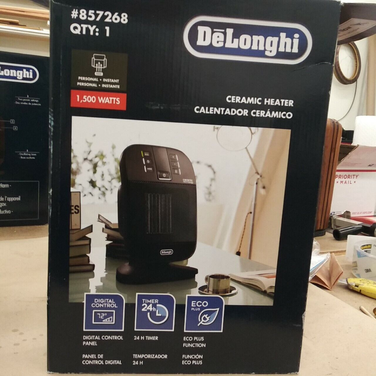 DeLonghi 5120 BTU Ceramic Compact Electric Space Heater with