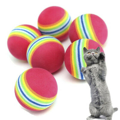 4Pcs Pet  Foam Rainbow Play Balls Colorful Cat Kitten Activity Creative Toys