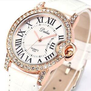 Rose Gold Clear Crystal Lady Women Girl White Bracelet Quartz Wrist Watch Gift