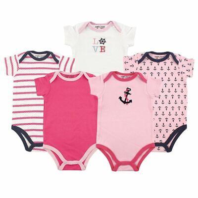 Luvable Friends Girl Bodysuits, 5-Pack, Girl Nautical