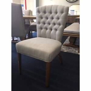 """Dianna"" French Provincial Buttoned Beige Linen Dining Chair Brisbane City Brisbane North West Preview"