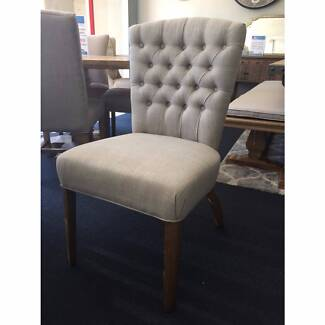 """""""Dianna"""" French Provincial Buttoned Beige Linen Dining Chair"""
