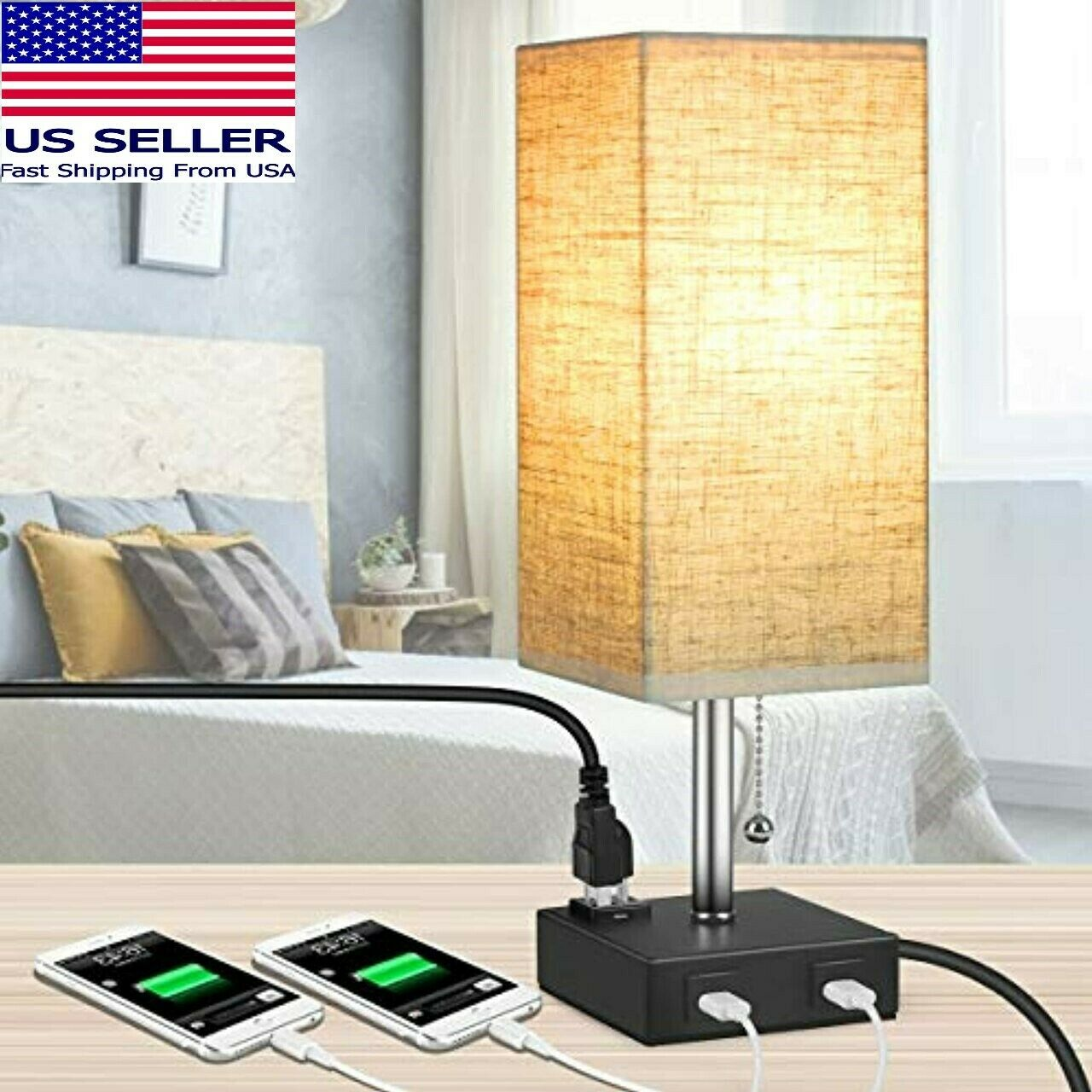 MOICO Bedside Modern Table Nightstand Lamp w/ 2 USB Charging Ports & 1 AC Outlet Home & Garden